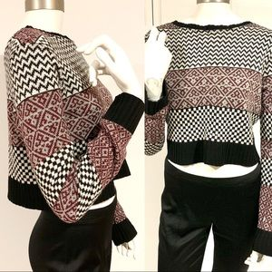 Multi Pattern Color Block Soft Cropped Sweater